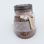 custom mason jar hot chocolate favor by Naturally Chic | Photo by Orange Girl